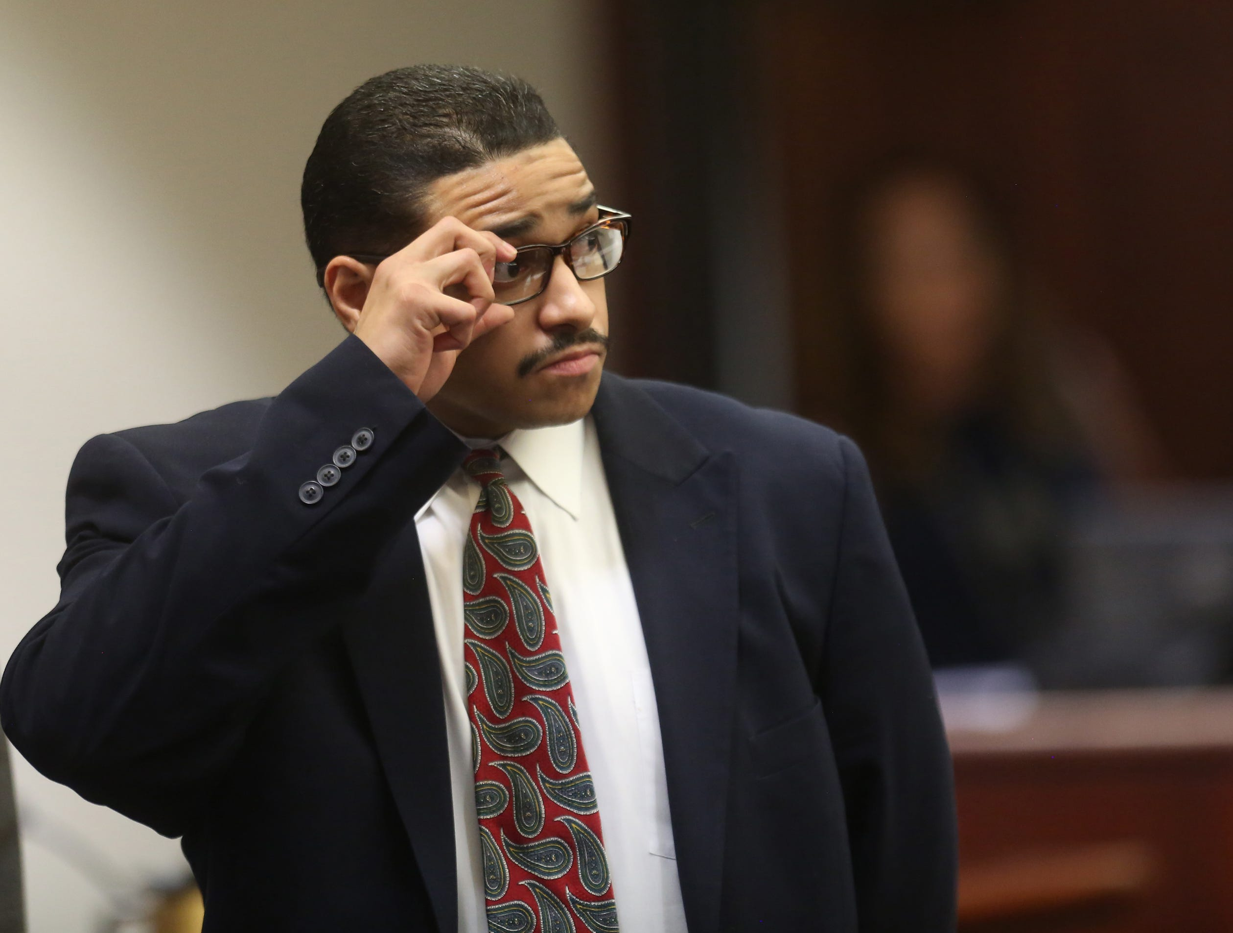 The trial of John Hernandez Felix, who faces the death penalty in the 2016 shooting deaths of Palm Springs police officers Jose Gilbert Vega and Lesley Zerebny, has begun. Felix is photographed during a break in the proceedings on April 17, 2019.