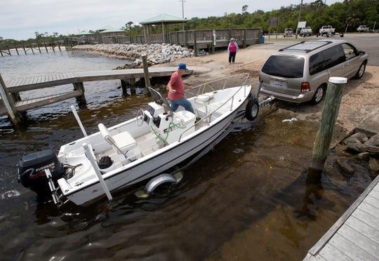 """Wayne Hendrix finds the boat ramp at Shoreline Park in Gulf Breeze to be the perfect spot to launch his boat on Wednesday. Gulf Breeze is planning to renovate four city parks to include kayak launches and new fishing docks, with Shoreline Park to be the main destination park for the """"blueways"""" project."""