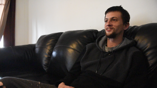 Michael Vanbourgondien at The Dominic House in Penn Township in March 2019, shares his story of battling addiction.