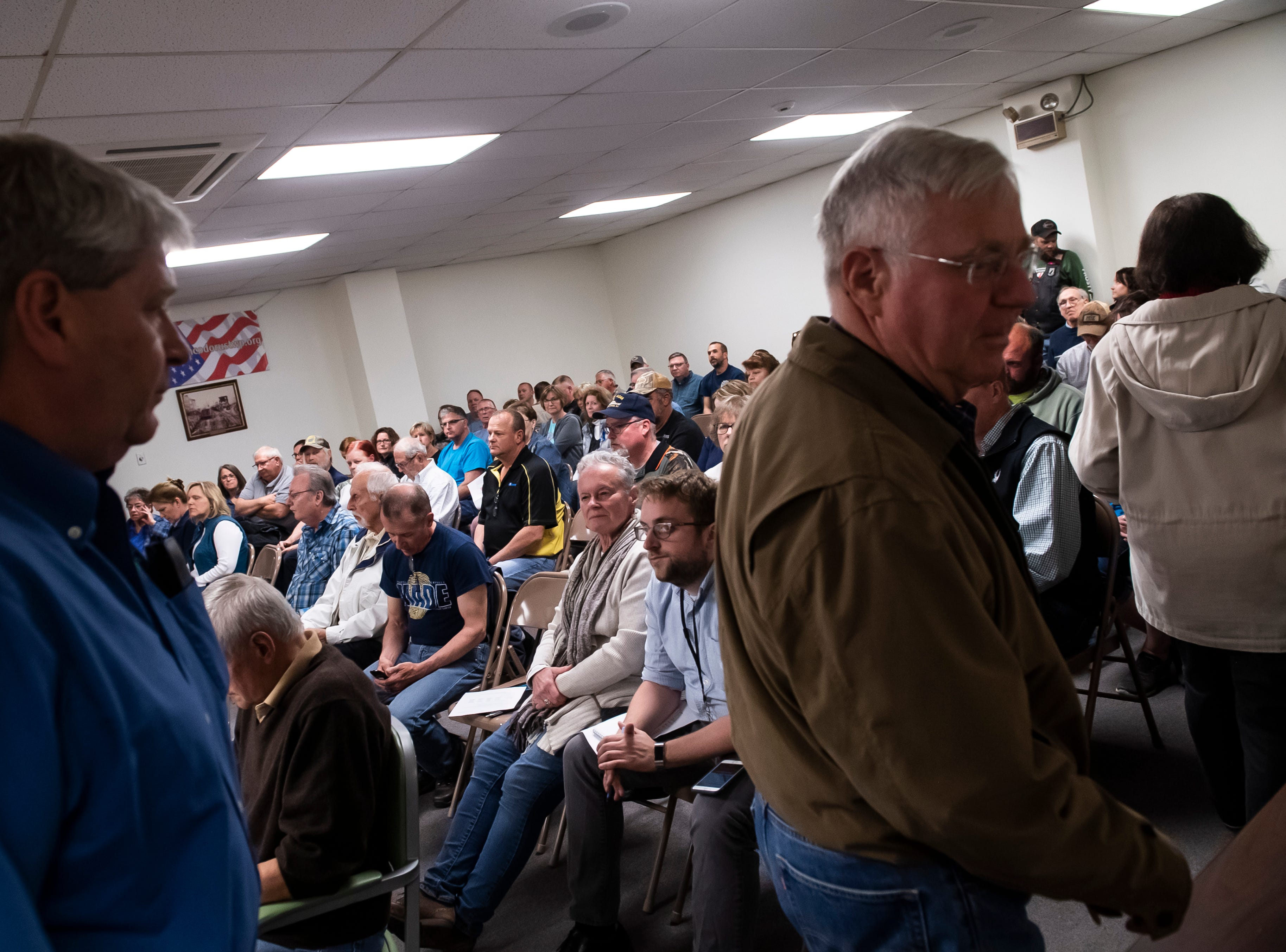 People pack into the North Codorus Township building for the monthly Board of Supervisors meeting on Tuesday, April 16, 2019.