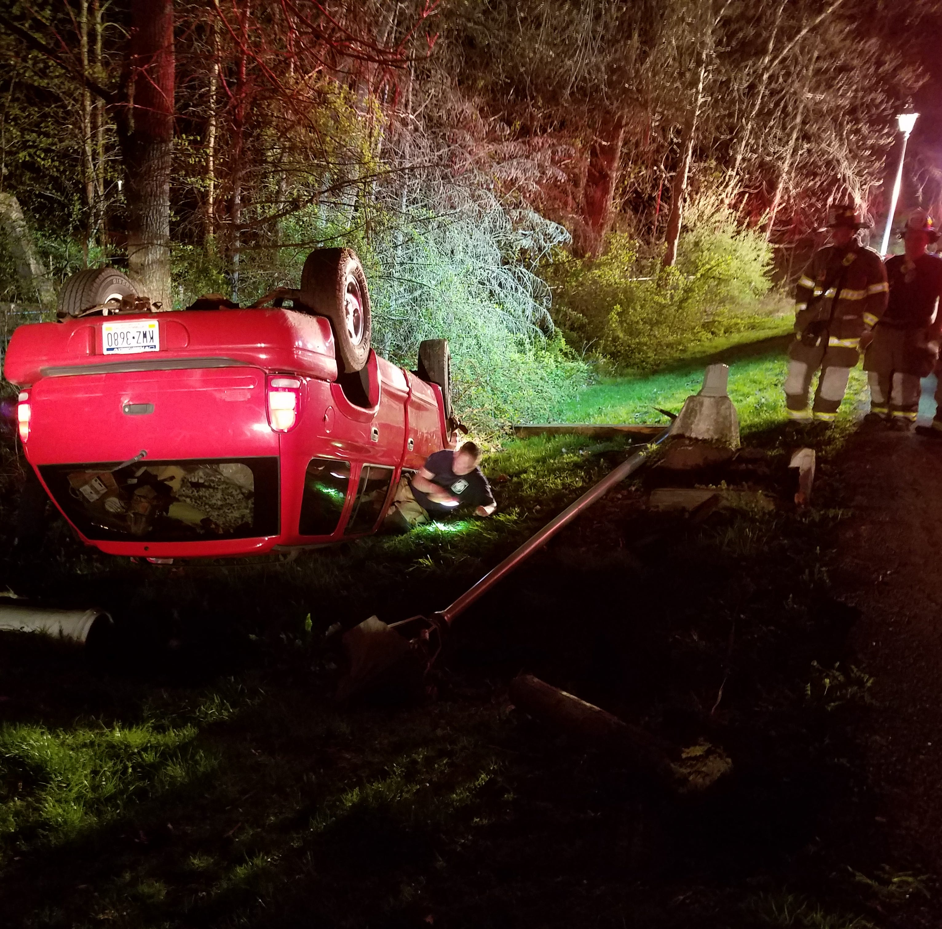 Driver flees after car overturns, Cumberland Twp. Police investigate