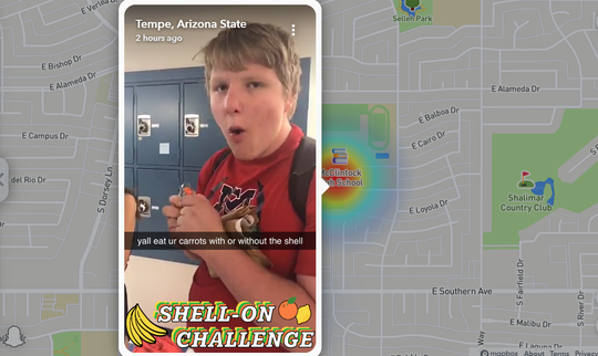 "A screenshot of Liam Hamm eating a plastic bag as part of the 'shell on"" challenge. Teens are eating banana peels, wrappers and other food casings in a new viral video challenge."