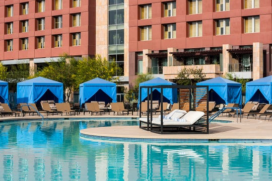 Talking Stick Resort offers guests three swimming pools onsite, including its main pool that is surrounded by cabanas and daybeds.