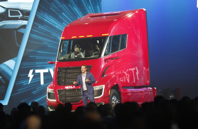 Trevor Milton, Nikola CEO and founder, introduces the Nikola Two hydrogen-electric semi-truck at Nikola World 2019 at Westworld in Scottsdale, Ariz. April 16, 2019.