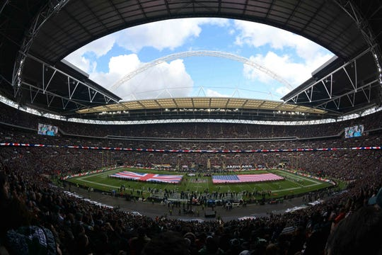 Wemblley Stadium is seen with British and American flags on the field before an NFL International Series game between the Philadelphia Eagles and the Jacksonville Jaguars.