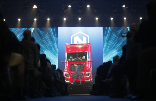 Trevor Milton, Nikola CEO and founder, introduces the Nikola Two hydrogen-electric semi-truck at Nikola World 2019 at Westworld in Scottsdale, Ariz. April 16, 2019.