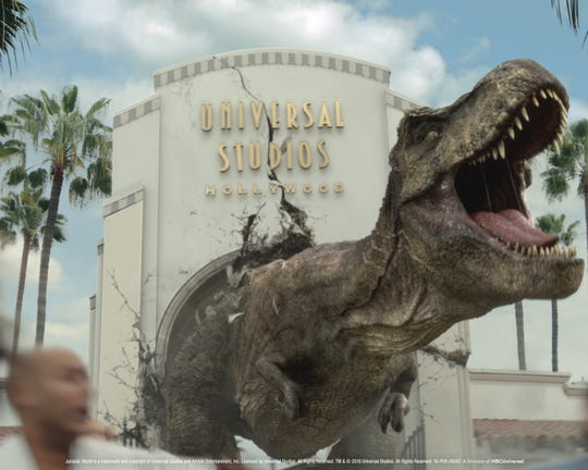 "The teaser for the new ""Jurassic World - The Ride"" at Universal Studios Hollywood features its two dino-stars:  Tyrannosaurus rex and Mosasaurus."