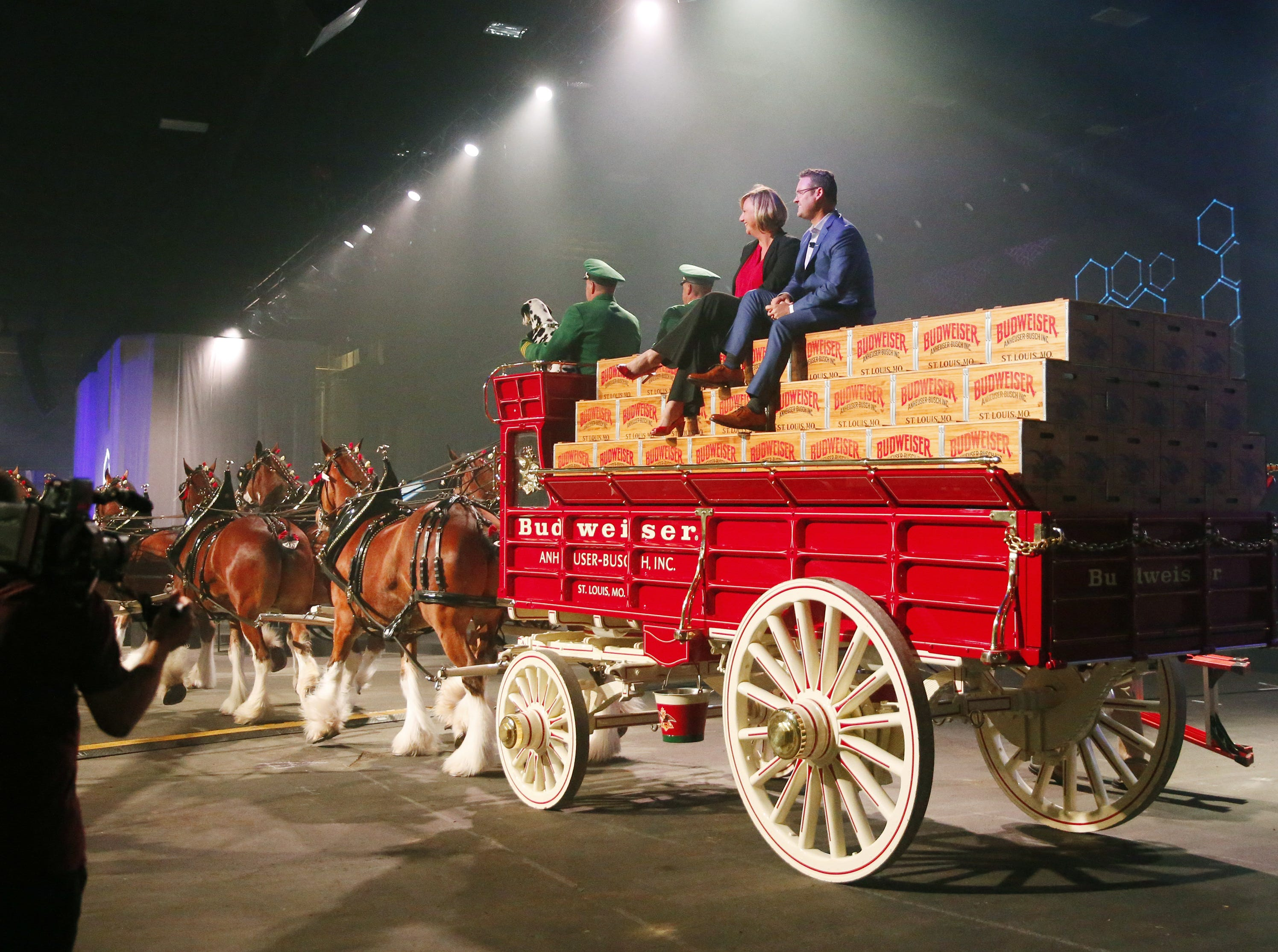 Trevor Milton, Nikola CEO and founder, arrives with the Budweiser Clydesdales at Nikola World 2019 at Westworld in Scottsdale, Ariz. April 16, 2019.