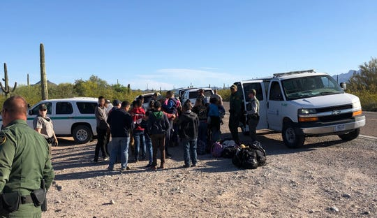 Border Patrol apprehended a group of 393 migrants in the Arizona desert on April 16, 2019.
