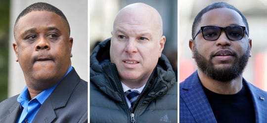 This combo of images shows, from left, amateur basketball league director Merl Code, Former Adidas executive James Gatto, and business manager Christian Dawkins.