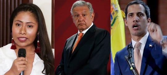 Yalitza Aparicio, actriz mexicana; Andrés Manuel López Obrador, presidente de México; y Juan Guaidó, líder de la oposición venezolana.