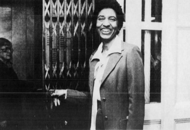 Lula Petty is pictured operating the elevator at Sperry's in 1983.