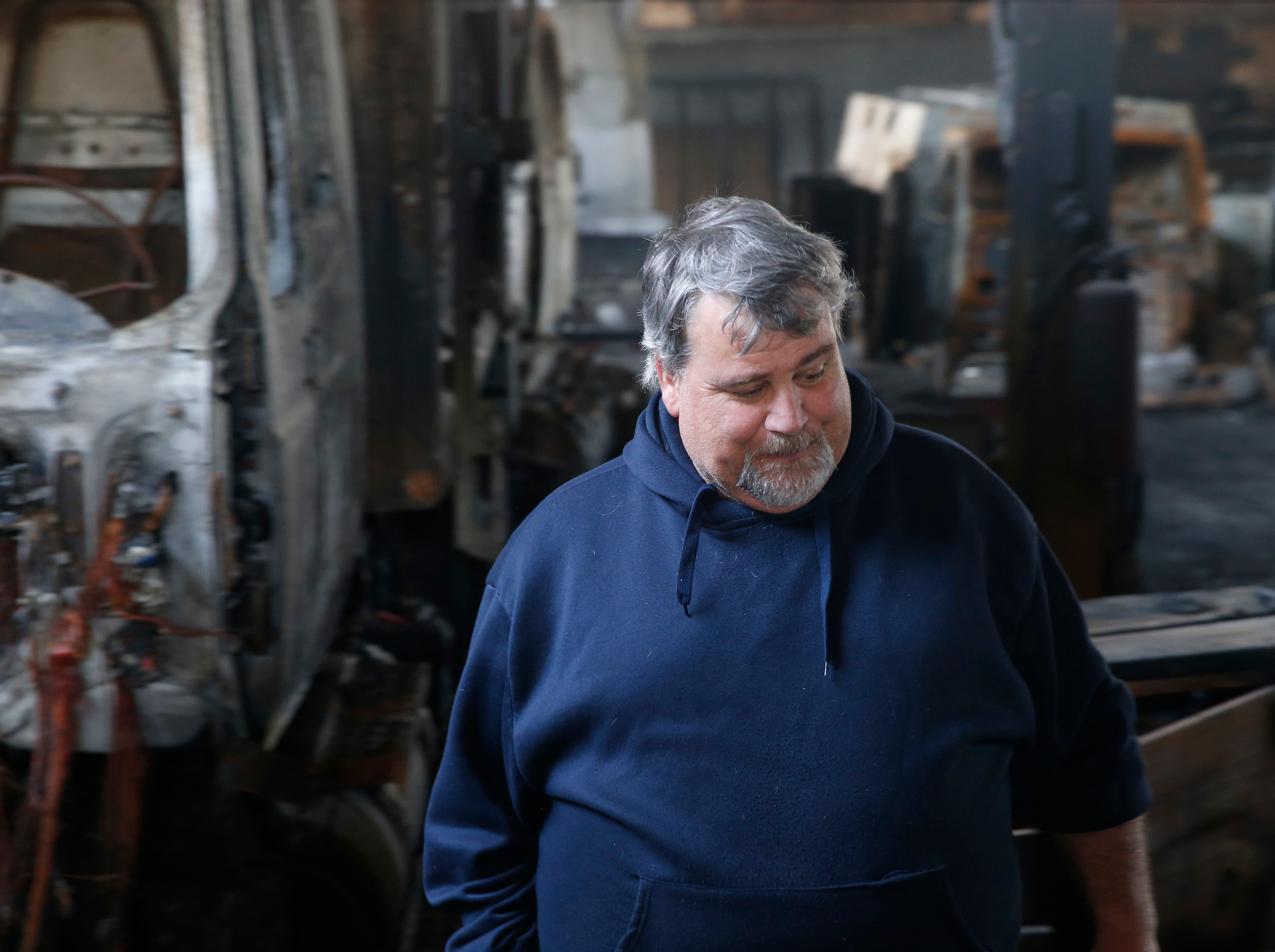 Patrick Gleason inside his company's building in the Town of Poughkeepsie on April 17, 2019. A massive fire in March destroyed much of the building's contents and the structural integrity of the building.