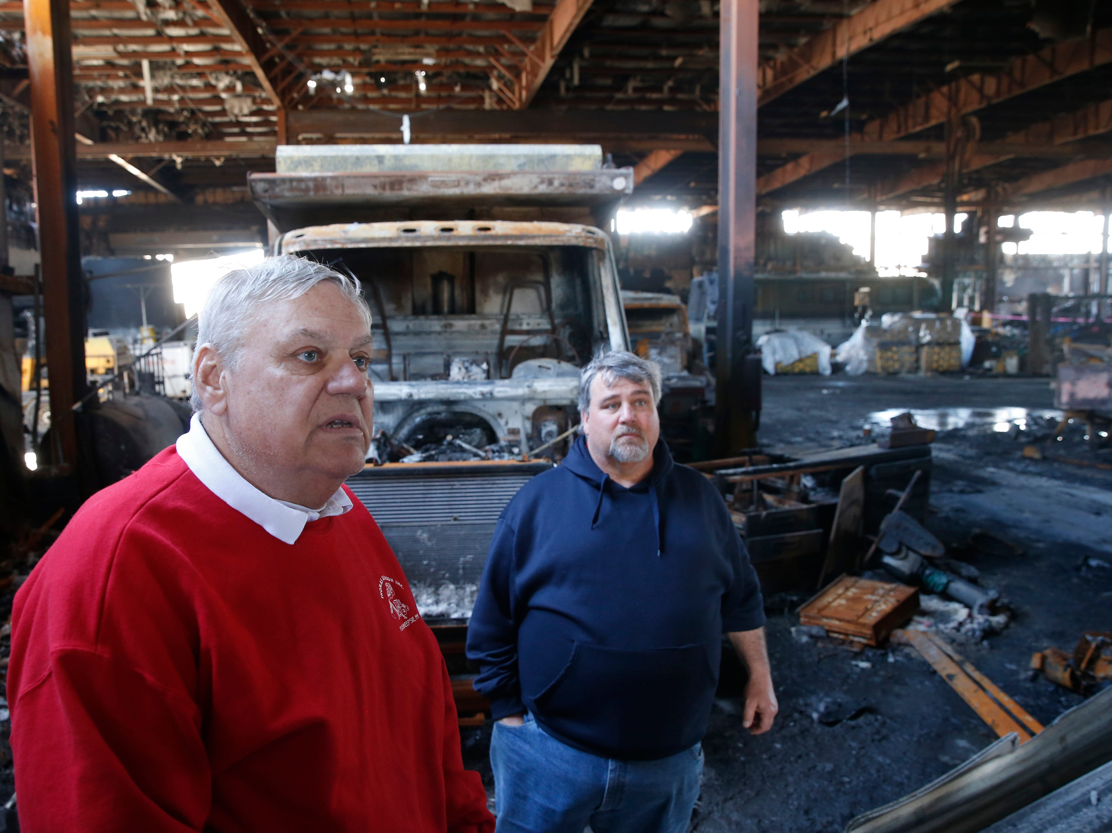 From left, Thomas and Patrick Gleason inside their company's building in the Town of Poughkeepsie on April 17, 2019. A massive fire in March destroyed much of the building's contents and the structural integrity of the building.