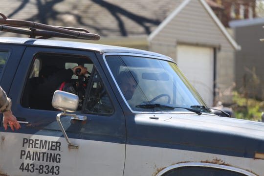 """Mark Ruffalo drives a truck in the City of Poughkeepsie as a scene for the HBO series """"I Know This Much is True"""" is filmed on Wednesday."""