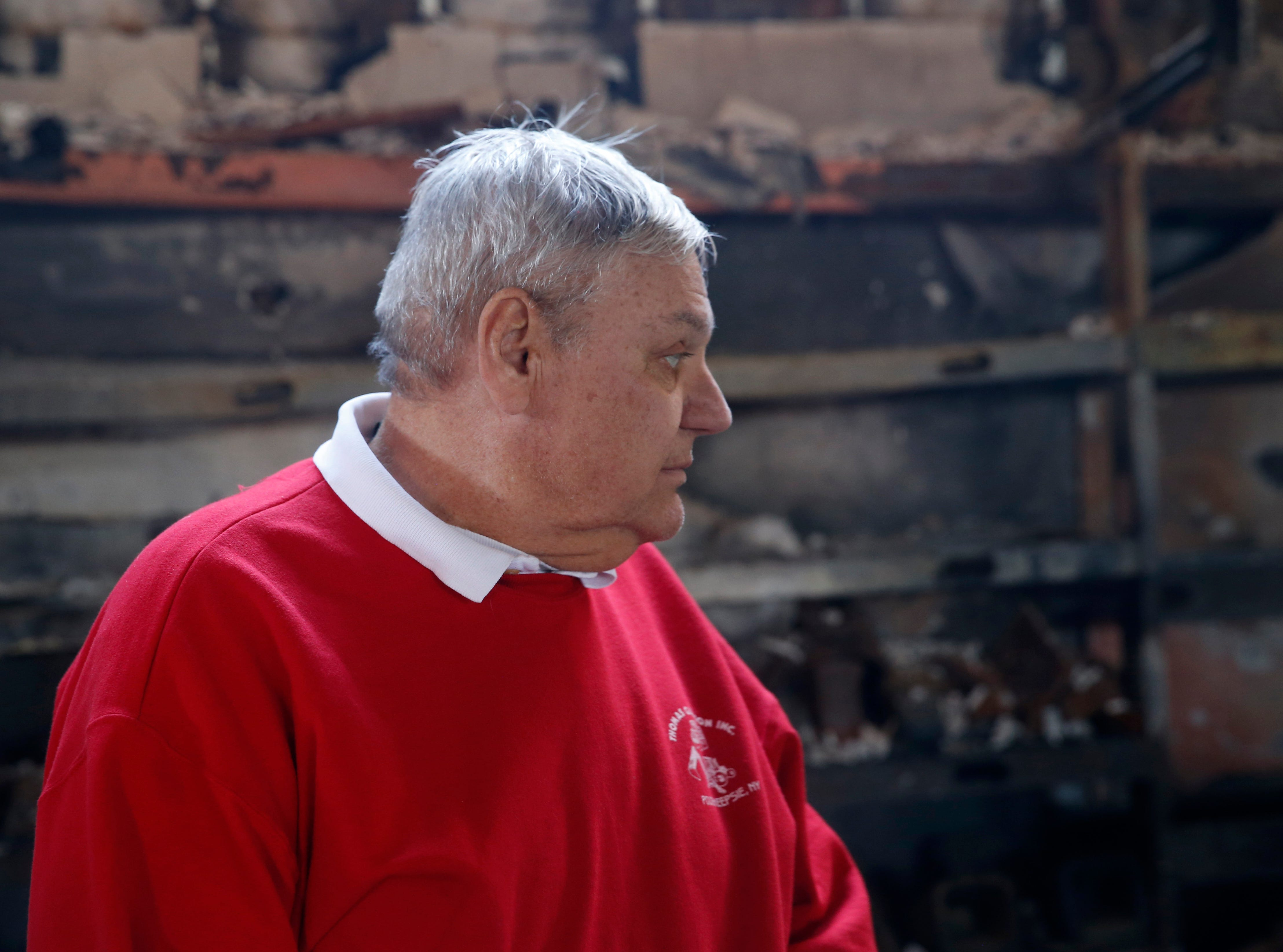 Thomas Gleason inside his company's building in the Town of Poughkeepsie on April 17, 2019. A massive fire in March destroyed much of the building's contents and the structural integrity of the building.