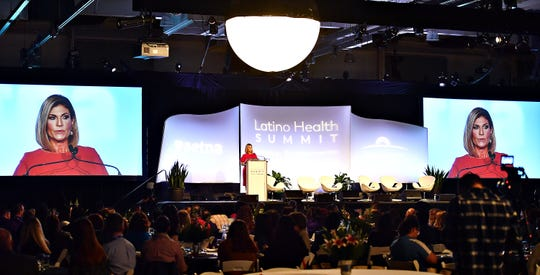 Keynote speaker Teresa Rodríguez, who is co-anchor of Univision Network's Aquí y Ahora news magazine show, shares her story during the Latino Health Summit at Memorial Hall on the York Fairgrounds in West Manchester Township, Wednesday, April 17, 2019. Dawn J. Sagert photo