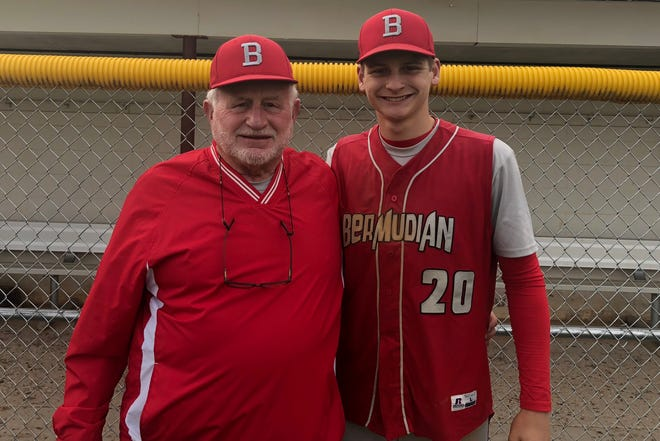 Bruce Reinert, left, is in his first season coaching the Bermudian Springs baseball team. Reinert, 67, is coaching his grandson, Tyler, who is one of the Eagles' top pitchers and their No. 3 hitter.