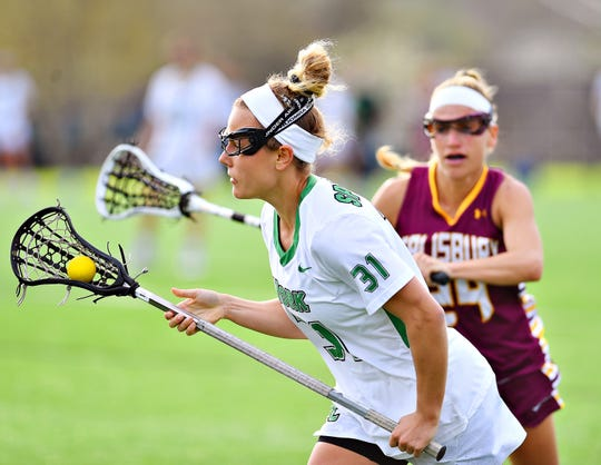 York College's Hayley McCormick, front, works to get past Salisbury's Morgon Von Schmidt during women's lacrosse action at York College on Wednesday, April 17. York will begin its NCAA Division III journey at home on Sunday vs. either Endicott or Misericordia.