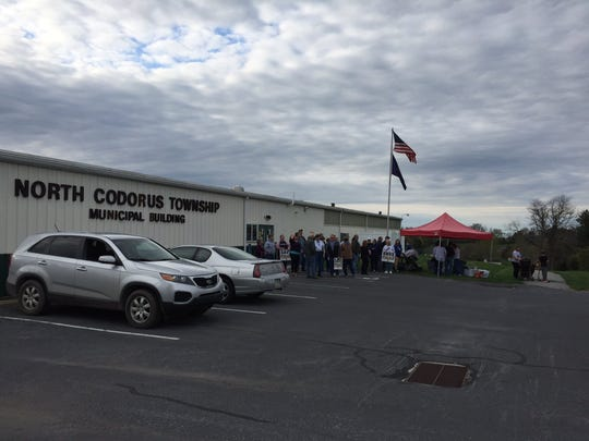 Supporters of Southwestern Regional Police showed up in front of the North Codorus Township building before the township's supervisor meeting Tuesday, April 16. Christopher Dornblaser photo.