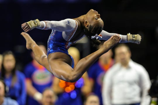 Florida's Trinity Thomas performs her floor exercise during an NCAA gymnastics match against Missouri, Friday, Jan. 11, 2019, in Gainesville, Fla.