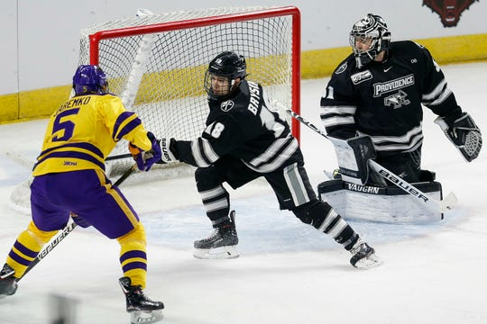 Defenseman Jacob Bryson starred three seasons at Providence, helping Friars reach Frozen Four in Buffalo. He's getting a head start on his pro career, joining the Rochester Amerks this week.