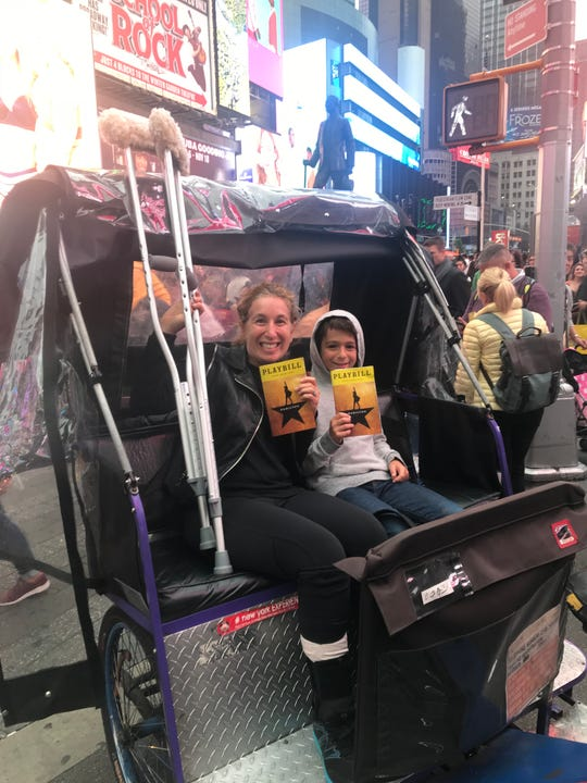 Crutches in tow, Susan Sagan Levitan found a way to see the show with son Max.
