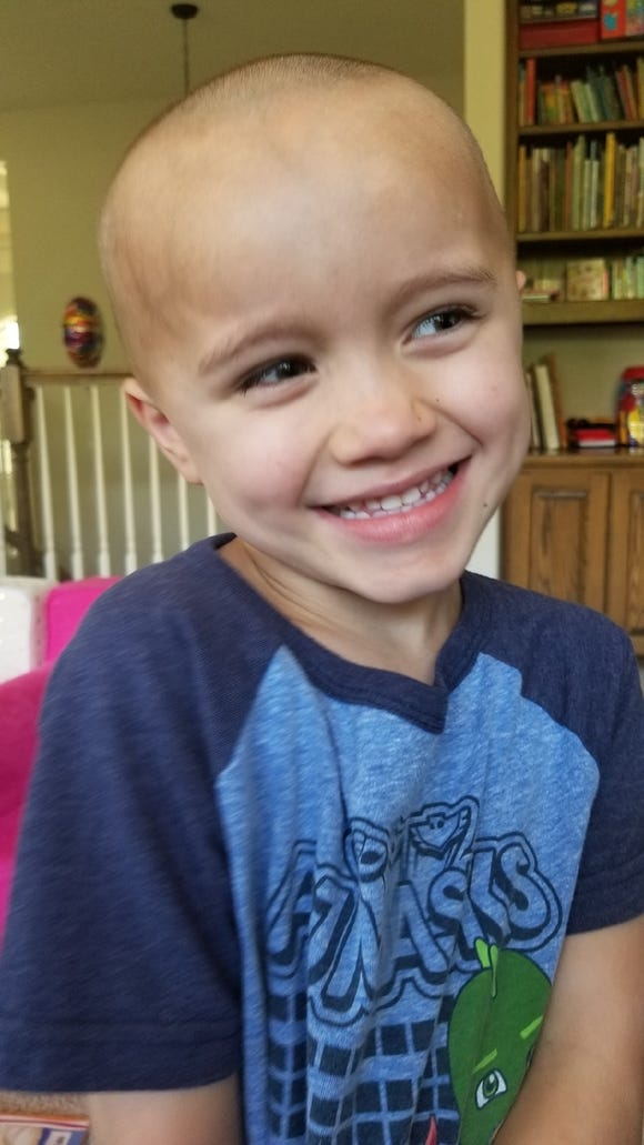 Teddy Plucknette, 5, shaved his siblings' heads as well as his own.