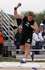 Water Valley High School's Hunter Sturgess won the boys shot put competition at the Districts 11&12-1A Area Track and Field Meet Tuesday, April 16, 2019, in Sterling City.