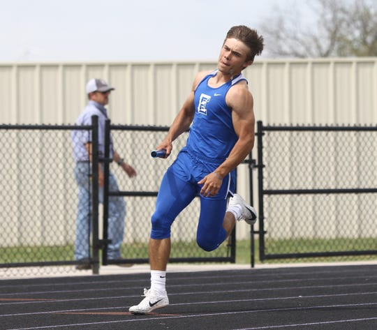 Eden High School's Austin Moya runs the last leg in the boys 4x200-meter relay at the Districts 11&12-1A Area Track and Field Meet Tuesday, April 16, 2019, in Sterling City.
