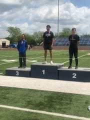 Lake View High School's Jordan Watjen, far left, was third in the boys high jump at the Districts 5&6-4A Area Track and Field Meet Wednesday, April 17, 2019, in Graham. Big Spring's Kyler Seymore, far right, was second.