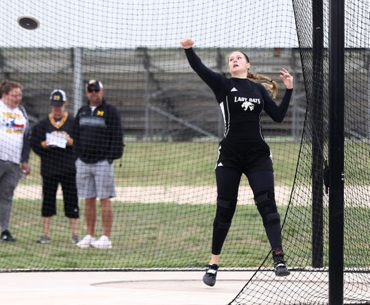 Water Valley High School's Kendra Hoover won the girls discus throw at the Districts 11&12-1A Area Track and Field Meet Tuesday, April 16, 2019, in Sterling City.