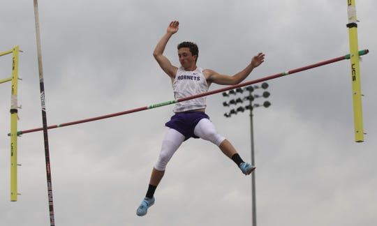 Irion County High School's Sawyer Paxton won the boys pole vault competition at the Districts 11&12-1A Area Track and Field Meet Tuesday, April 16, 2019, in Sterling City.