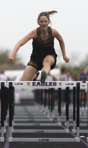 Menard High School's Alee Hensley won the 100-meter girls hurdles at the Districts 11&12-1A Area Track and Field Meet Tuesday, April 16, 2019, in Sterling City.