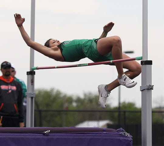 Blackwell High School's Darrian Kenney clears the bar during the girls high jump competition at the Districts 11&12-1A Area Track and Field Championships Tuesday, April 16, 2019, in Sterling City.