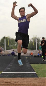 Sterling City High School's Quinton McMullan won the boys long jump competition at the Districts 11&12-1A Area Track and Field Championships Tuesday, April 16, 2019, in Sterling City.