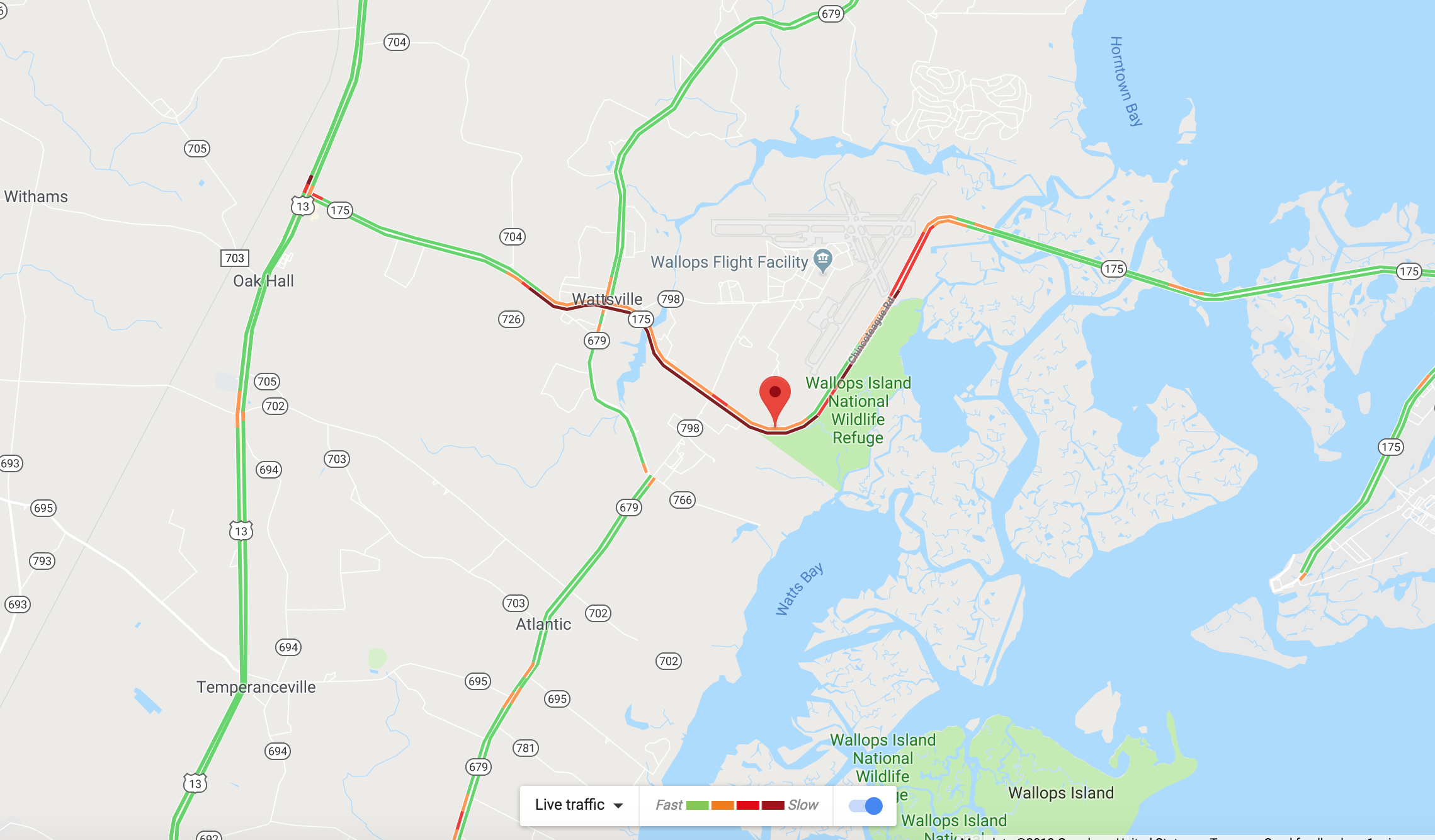 Traffic backup on Route 175 ahead of NASA Wallops rocket launch on April 17, 2019, is shown by Google Maps.