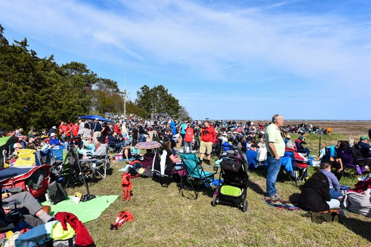 A crowd of hundreds gathered at the NASA Wallops Island visitor center during the NG-11 rocket launch on Wednesday, April 17, 2019.