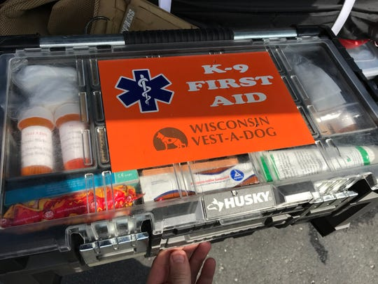 A K-9 first aid kit has been provided by Wisconsin Vest-A-Dog, a nonprofit that provides equipment to protect police dogs throughout Wisconsin.