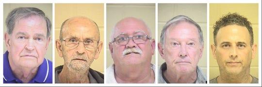 Five men were arrested April 11-12, 2019, on obscenity offenses.