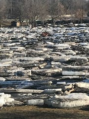 Huge ice chunks fill McHardy Park on March 13, 2019 after the heavy snow and rain in Brandon.
