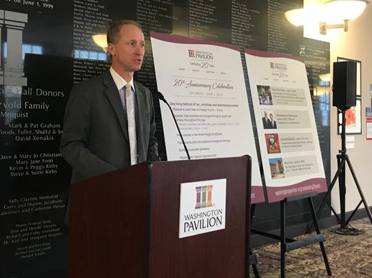 Washington Pavilion President and CEO Darren Smith unveiled a calendar-filled lineup of activities and events in June to commemorate the downtown Sioux Falls facility's 20-year anniversary.