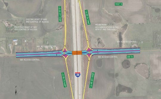 A planned intersection off-ramp at 85th Street could be a diverging diamond.
