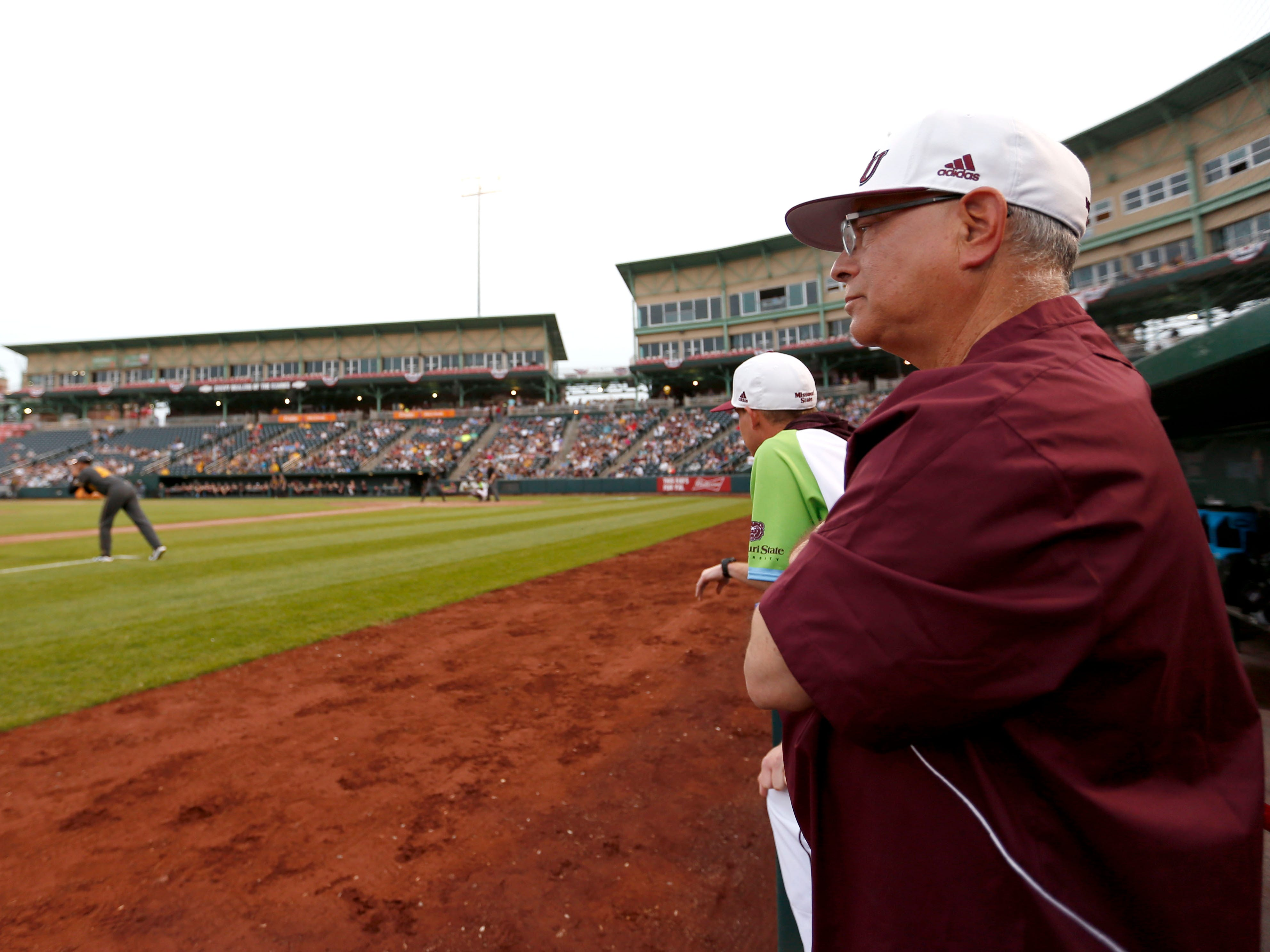 Missouri State head coach Keith Guttin watches as the Bears take on the Mizzou Tigers at Hammons Field on Tuesday, April 16, 2019.