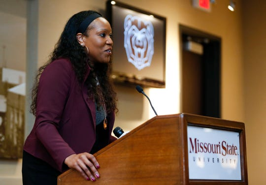 Amaka Agugua-Hamilton speaks for the first time as the Missouri State Lady Bears head coach during a press conference introducing her on Wednesday, April 17, 2019.