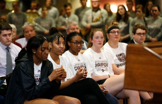Missouri State Lady Bear listen to a press conference with new head coach Amaka Agugua-Hamilton on Wednesday, April 17, 2019.