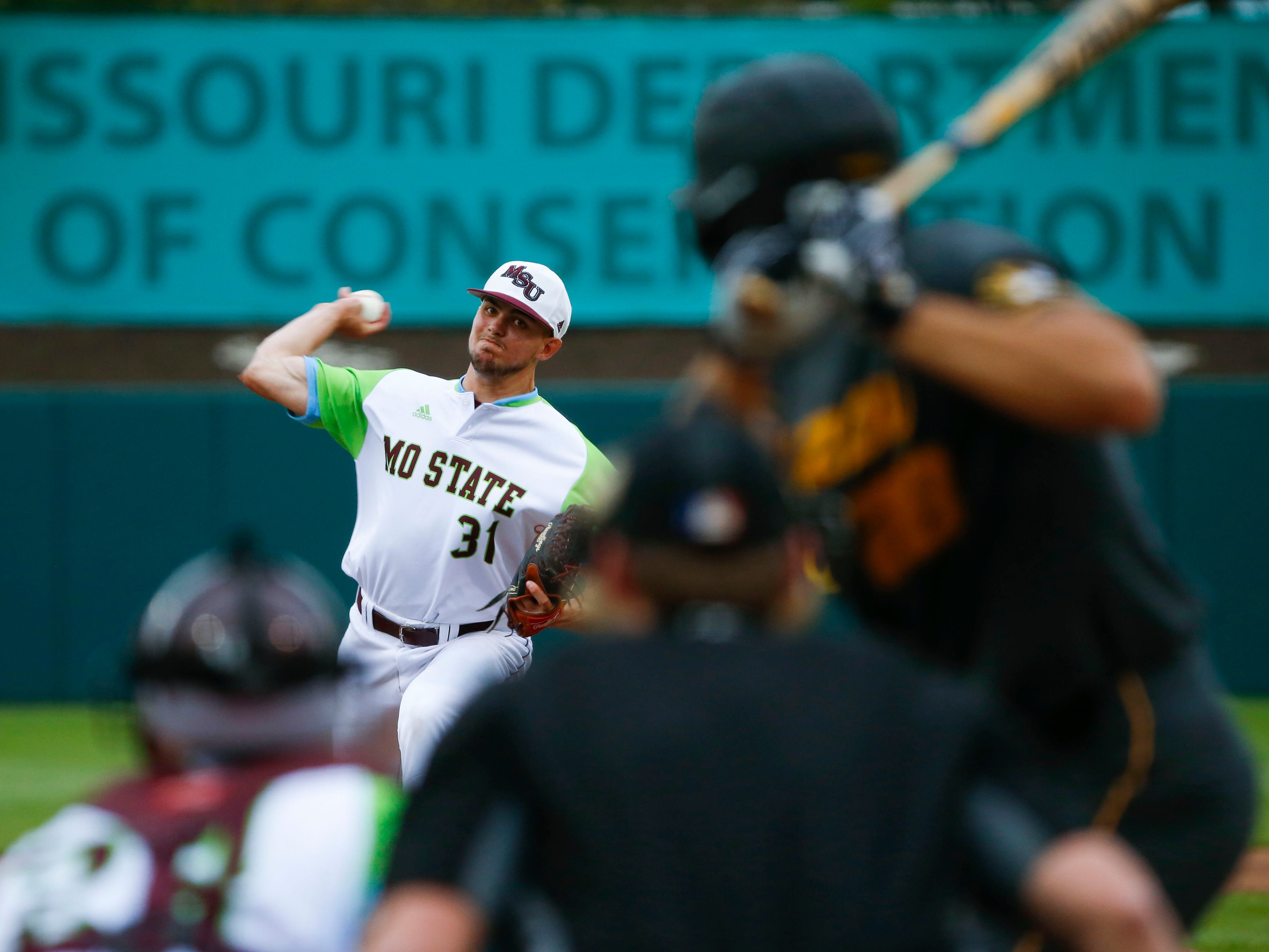 Missouri State starting pitcher Forrest Barnes delivers a pitch to the plate as the Bears take on the Mizzou Tigers at Hammons Field on Tuesday, April 16, 2019.