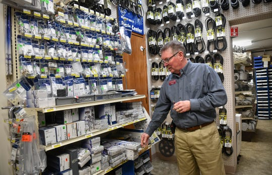 Handyman's Inc. owner Doug Severson talks about some of the thousands of items in stock Wednesday, April 17, in the St. Cloud store. Doug and Carol Severson were named the 2019 St. Cloud Area Small Business Owners of the Year.