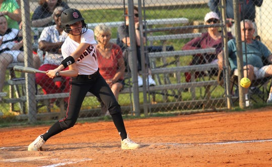 NFC freshman Emma Brice bats as NFC beat Aucilla Christian 15-5 on Tuesday, April 16, 2019.