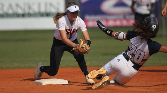 NFC shortstop Emma Brice prepares to apply a tag to Aucilla Christian's Isabella Gray as NFC beat Aucilla Christian 15-5 on Tuesday, April 16, 2019.